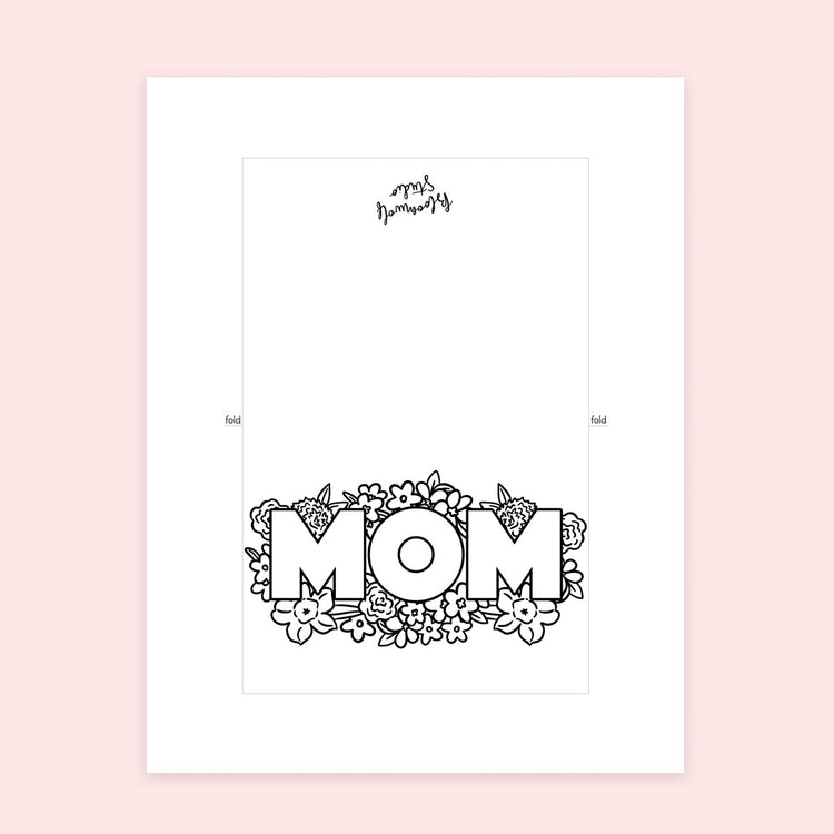 Mom Card Coloring Sheet