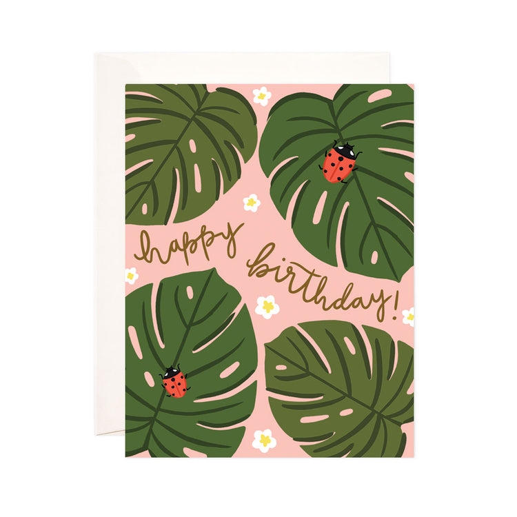 Monstera Birthday - Bloomwolf Studio Birthday Card, Red Bugs, Green Leaves, White Small Flowers