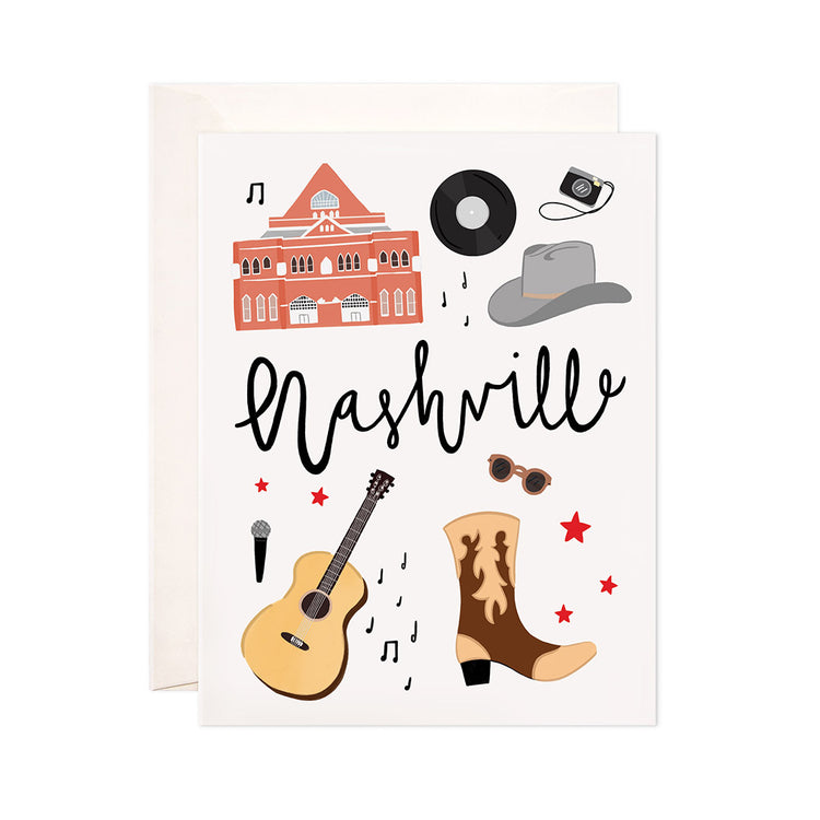 Nashville - Bloomwolf Studio Card About Things to Do in Nashville, Neutral Colors, City Landmarks + Historical Places + Notable Places
