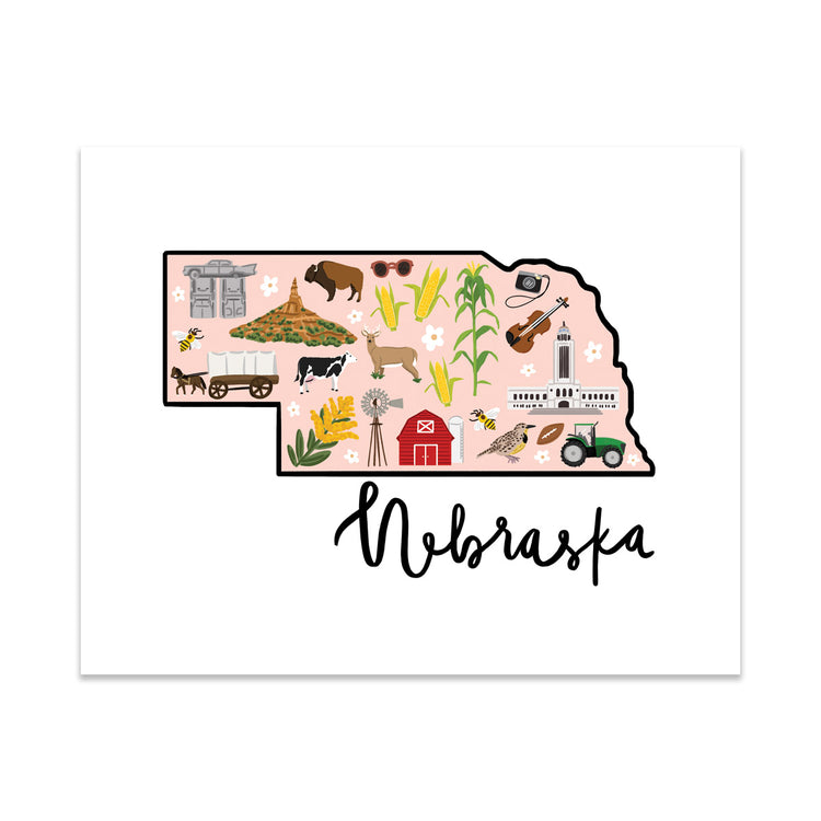 State Art Prints - Nebraska