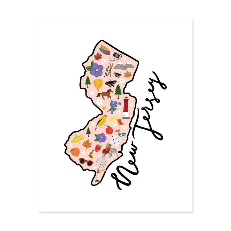 State Art Prints - New Jersey - Bloomwolf Studio Print of New Jersey Map, Things to Do, Bright Colors, State Landmarks + Historical Places + Notable Places