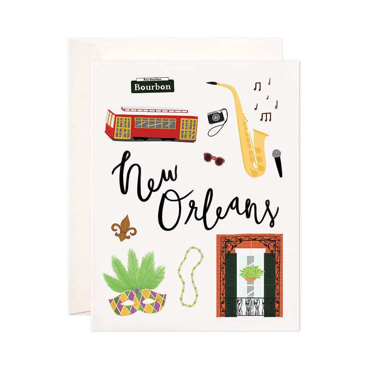 New Orleans - Bloomwolf Studio Card About New Orleans, Bright Colors, Things to Do, State Landmarks + Historical Places + Notable Places