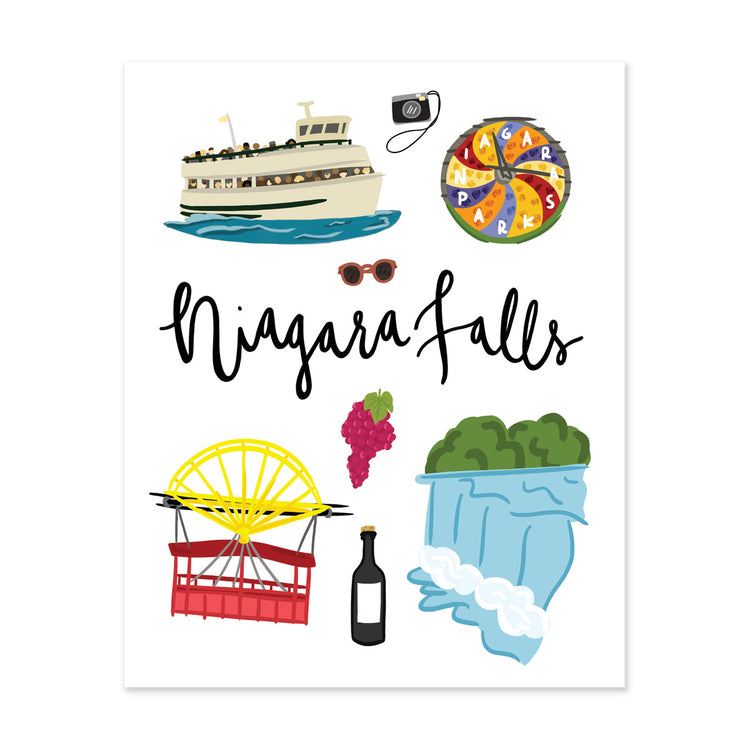 City Art Prints - Niagara Falls - Bloomwolf Studio Print About Things  Niagara Falls, Bright Colors, City Landmarks + Historical Places + Notable Places