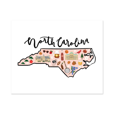 State Art Prints - North Carolina - Bloomwolf Studio Print of North Carolina  Map, Bright Colors, Things to Do, State Landmarks + Historical Places + Notable Places
