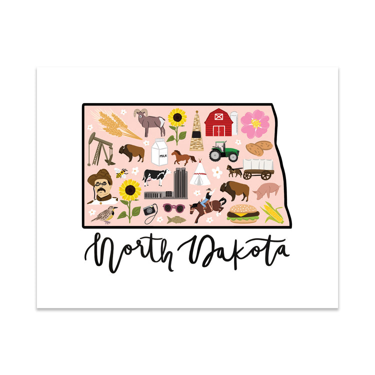 State Art Prints - North Dakota