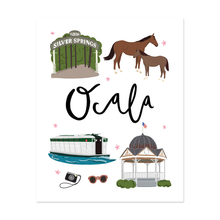 City Art Prints - Ocala - Bloomwolf Studio Print About Things to Do in Ocala, City Landmarks + Historical Places + Notable Places, Green and Neutral Colors