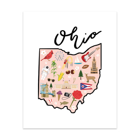State Art Prints - Ohio - Bloomwolf Studio Print of Louisiana Map, Things to Do, Bright Colors, State Landmarks + Historical Places + Notable Places