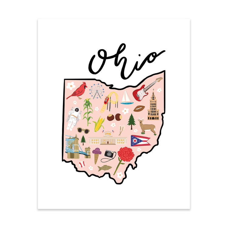 State Art Prints - Ohio - Bloomwolf Studio