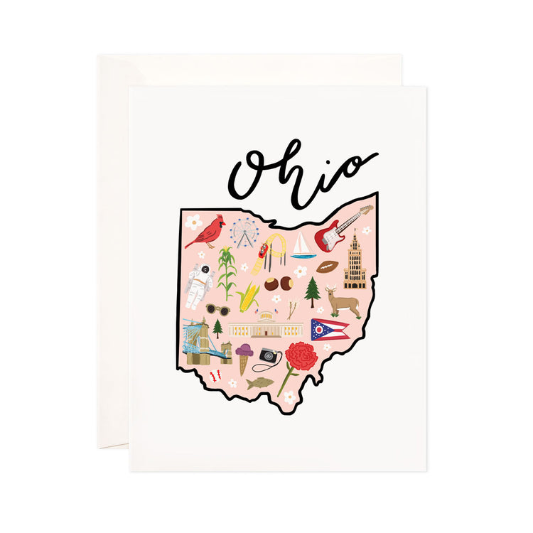Ohio - Bloomwolf Studio Card About Things to Do in Ohio, Map, Bright Colors, State Landmarks + Historical Places + Notable Places