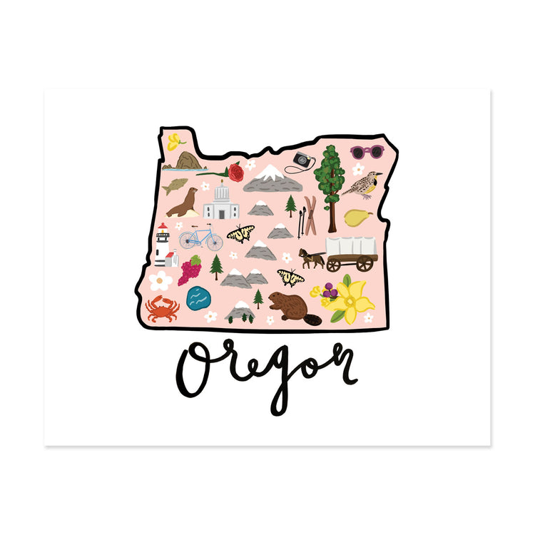 State Art Prints - Oregon - Bloomwolf Studio Print of Oregon Map, Things to Do, Bright Colors, State Landmarks + Historical Places + Notable Places