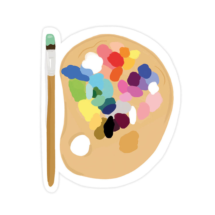 Paint Palette Sticker - Bloomwolf Studio Sticker With a Paintbrush and Palette With Paints, Neutral and Bright Colors