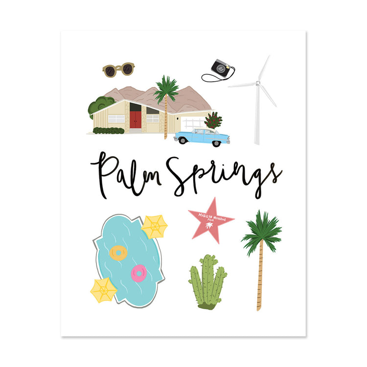 City Art Prints - Palm Springs - Bloomwolf Studio Print About Things to Do in Palm Springs, Neutral and  Pastel Colors, City Landmarks + Historical Places + Notable Places
