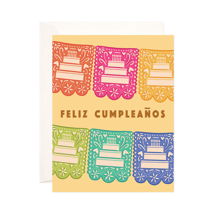 Papel Picado Birthday - Bloomwolf Studio Card That Says Feliz Cumpleaños, Orange, Pink, Yellow, Green, Blue Colors