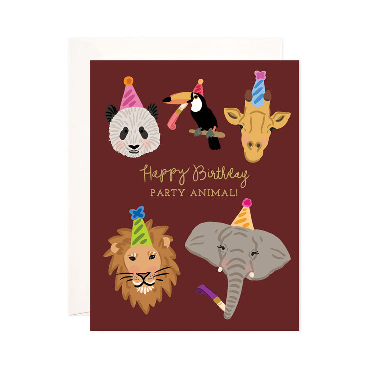 Birthday Party Animal - Bloomwolf Studio Birthday Card, Bright Colors, Panda, Bird, Giraffe, Lion, Elephant, Party Hats