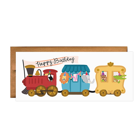 Party Train Birthday - Bloomwolf Studio Birthday Card, Bright Colors, Party Animals  in a Red, Blue, Yellow Train
