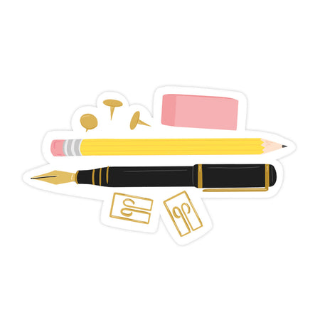 Pencil Sticker - Bloomwolf Studio Sticker With  a Yellow Pencil, Black Fountain Pen, Gold Clips and Tacks, Pink Eraser