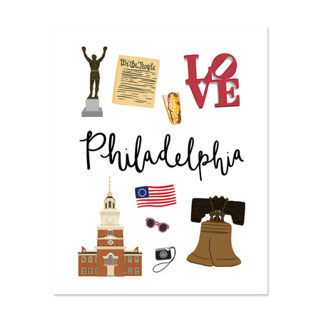City Art Prints - Philadelphia - Bloomwolf Studio Print About Things to Do in Philadelphia, Neutral Colors, City Landmarks + Historical Places + Notable Places