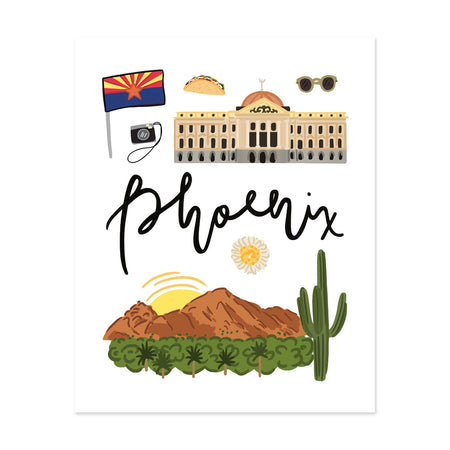 City Art Prints - Phoenix - Bloomwolf Studio Art Print About Phoenix, Bright Colors, Things to Do, State Landmarks + Historical Places + Notable Places