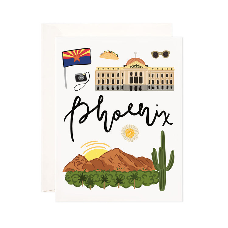 Phoenix - Bloomwolf Studio Card About Things to Do in Phoenix, Bright Colors, State Landmarks + Historical Places + Notable Places