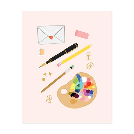 Pink Stationery Art Print - Bloomwolf Studio