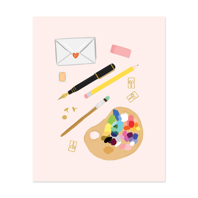 Pink Stationery Art Print - Bloomwolf Studio Print of  Black Pen, Yellow Pencil and Brush, Brown Tacks and Pins, Paints