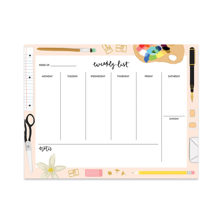 Pink Stationery Weekly Planner - Bloomwolf Studio Weekly List Notepad, Beige, Black and Warm Colors, Art Supplies
