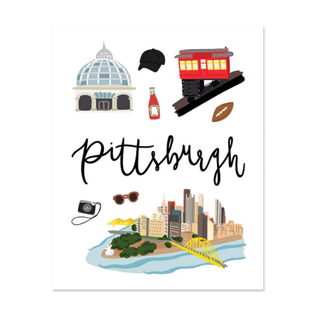 City Art Prints - Pittsburgh - Bloomwolf Studio Print About What to Do in Pittsburgh, City Landmarks + Historical Places + Notable Places, Red, Bright Colors