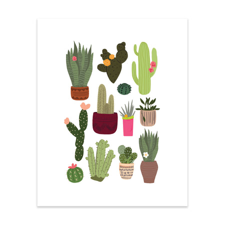 Plants Pattern Art Print - Bloomwolf Studio Print With Green Plants, in Maroon, Pink Brown, Beige Pots
