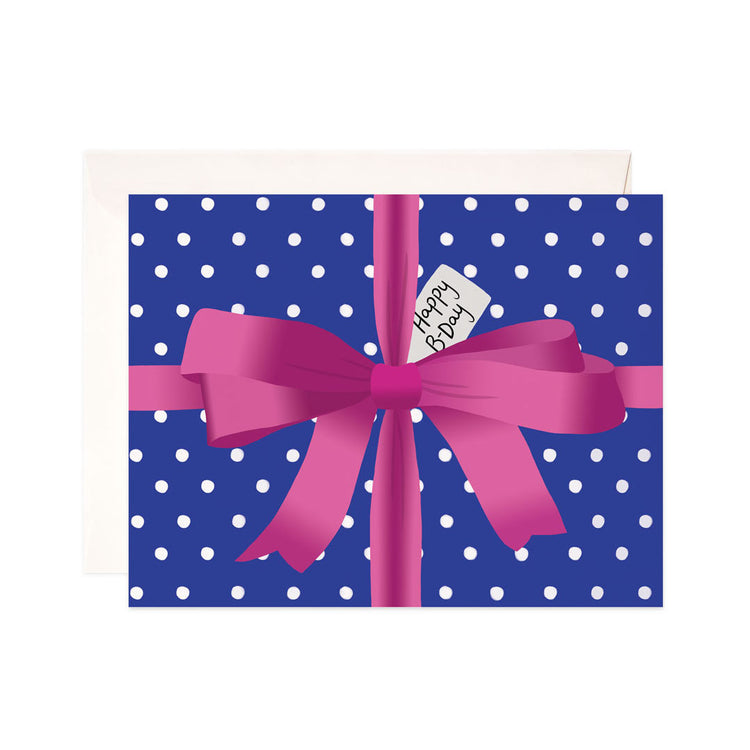 Polka Dot Birthday Gift - Bloomwolf Studio Birthday Card, Gift Wrapped in Blue and White Polka Dot Wrapper, Pink Ribbon