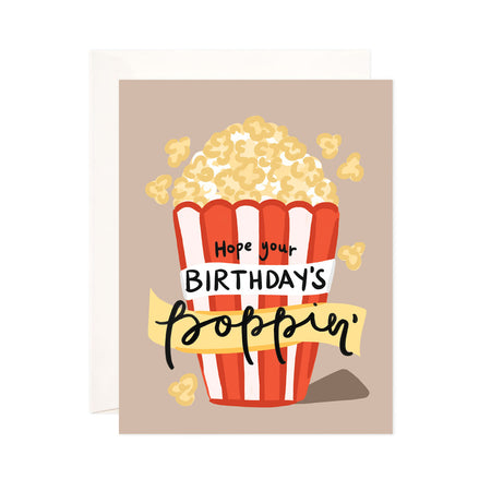Poppin' Birthday - Bloomwolf Studio Card That Says Hope Your Birthday's Poppin, Yellow Popcorn in a White and Red Striped Bucket