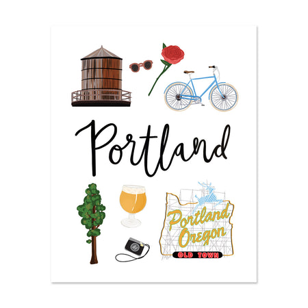 City Art Prints - Portland - Bloomwolf Studio Print About Things to Do in Portland, Neutral Colors City Landmarks + Historical Places + Notable Places, Red Rose, Blue Bike