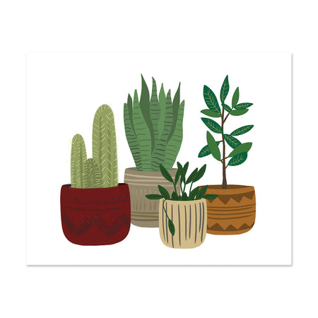 Potted Plants Art Print - Bloomwolf Studio Print of Green Plants, Cactus, Red, Grey, Beige and Brown Pots