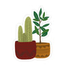 Potted Plants Stickers - Bloomwolf Studio Sticker of Plants in Red and Orange Pots, Cactus, Green Leaves