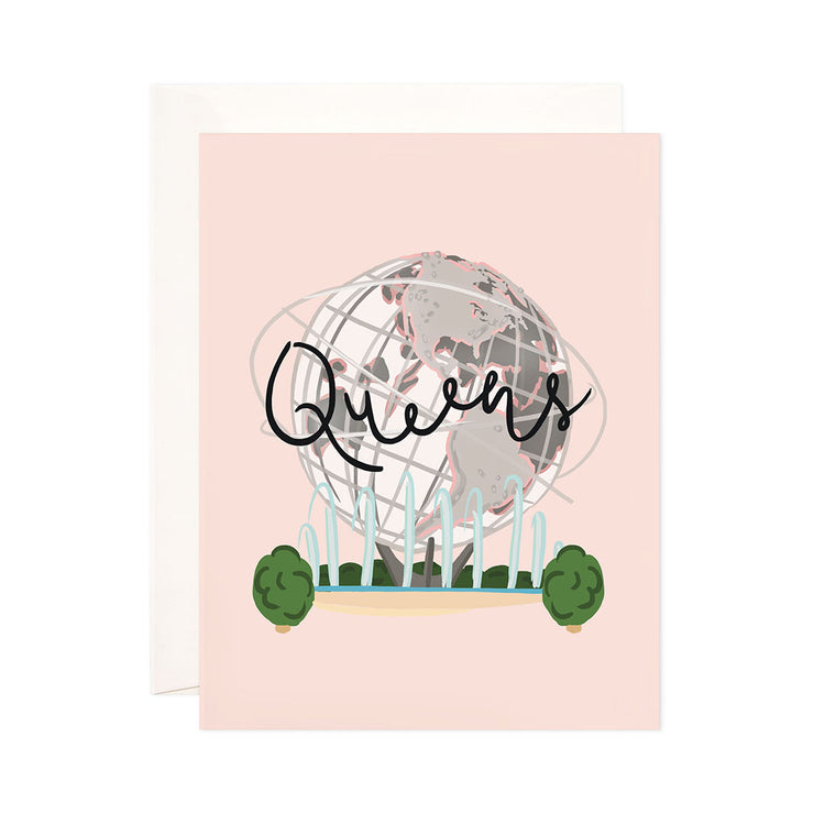 Queens - Bloomwolf Studio Card That Says Queens, Neutral Colored Globe, Blue Fountain, Green Plants