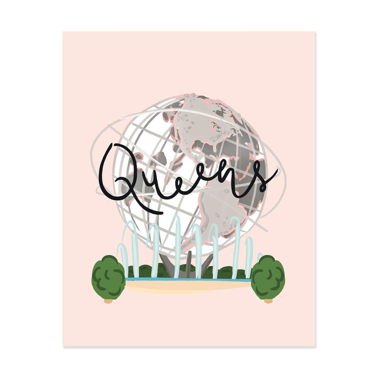 City Art Prints - Queens - Bloomwolf Studio Print That Says Queens, Green Trees, Neutral Colors, Fountain, Big Globe