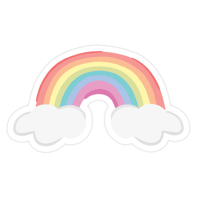 Rainbow Sticker - Bloomwolf Studio Pastel Colors, Rainbow With Clouds Sticker