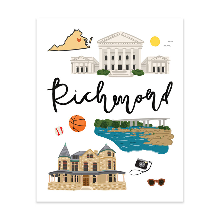 City Art Prints - Richmond - Bloomwolf Studio Print About Things to Do in Richmond, Bright Colors, State Symbols, White Background