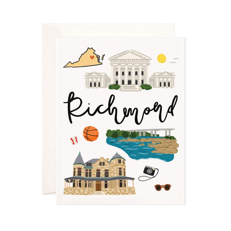 Richmond - Bloomwolf Studio Card About Things to Do in Richmond, Bright Colors, State Symbols, White Background