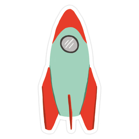 Rocket Sticker - Bloomwolf Studio Combination of Mint Green and Red Colored Rocket Sticker
