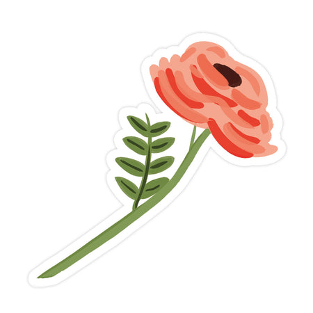 Single Rose Sticker - Bloomwolf Studio Sticker of a One Stemmed Red Rose, Green Stem and Leaves