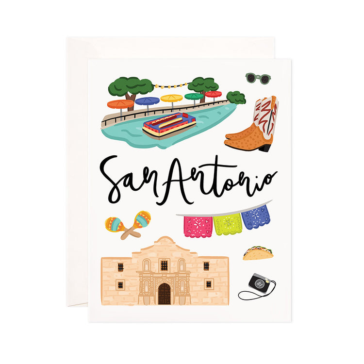 San Antonio - Bloomwolf Studio Card About Things to Do in San Antonio, Bright Colors, State Landmarks + Historical Places + Notable Places