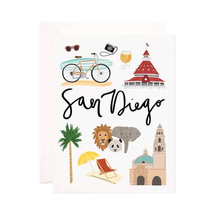 San Diego - Bloomwolf Studio Card About Things to Do in San Diego, Bright Colors, State Landmarks + Historical Places + Notable Places