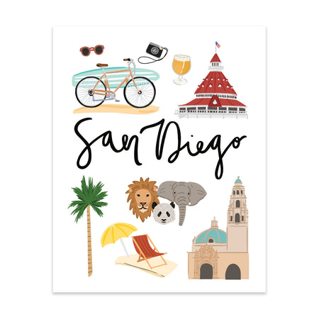 City Art Prints - San Diego - Bloomwolf Studio Print About San Diego, Things to Do, Bright Colors, State Landmarks + Historical Places + Notable Places