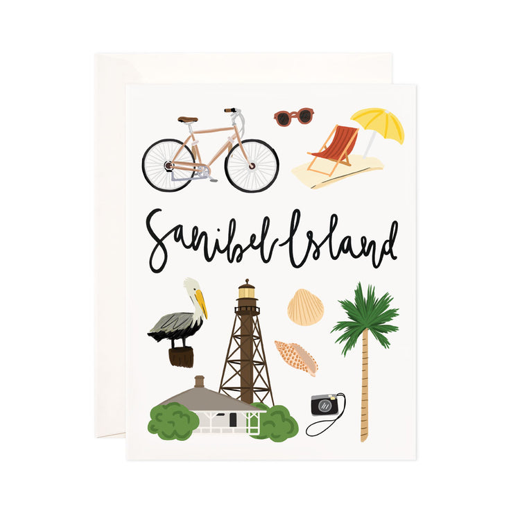 Sanibel Island - Bloomwolf Studio  Card About Things to Do in Sanibel Island, Bright Colors, State Landmarks + Historical Places + Notable Places, Florida