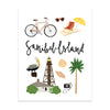 City Art Prints - Sanibel Island - Bloomwolf Studio Print About Things to Do in Sanibel Island, Bright Colors, State Landmarks + Historical Places + Notable Places
