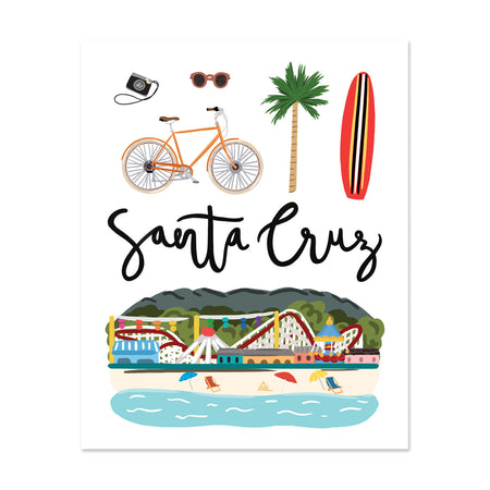 City Art Prints - Santa Cruz - Bloomwolf Studio Print About Santa Cruz, Neutral Colors, City Landmarks + Historical Places + Notable Places