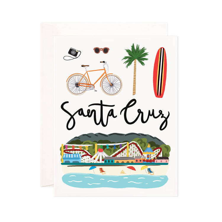 Santa Cruz - Bloomwolf Studio Card  About Things to Do in Santa Cruz, Map, Bright Colors, State Landmarks + Historical Places + Notable Places