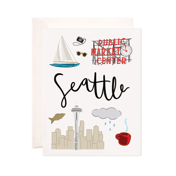 Seattle - Bloomwolf Studio Card About Seattle, City Landmarks + Historical Places + Notable Places, Things to Do, Red, Blue, Gray, White Colors