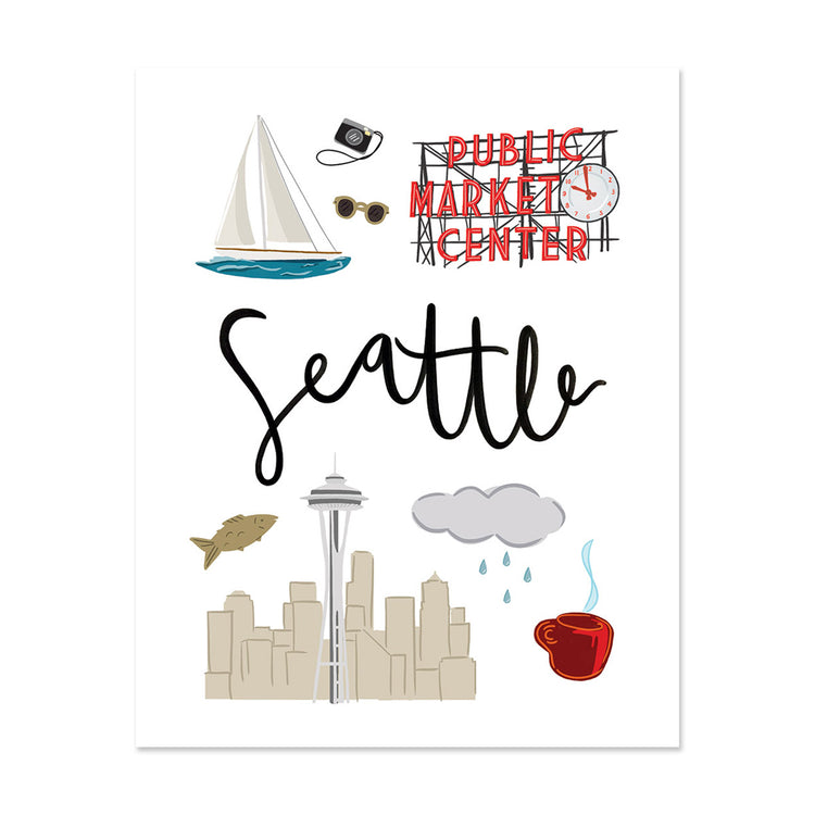 City Art Prints - Seattle - Bloomwolf Studio Art Print About Seattle, City Landmarks + Historical Places + Notable Places, Things to Do, Red, Blue, Gray, White Colors