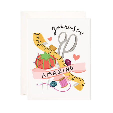 Sew Amazing - Bloomwolf Studio Card That Says You're Sew Amazing, Bright Colors, Sewing Kit Supplies